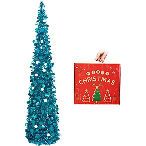 5ft Collapsible Pop Up Christmas Tree Blue Tinsel Coastal Christmas Tree for Holiday Xmas Decorations,Home Display, Office Decor