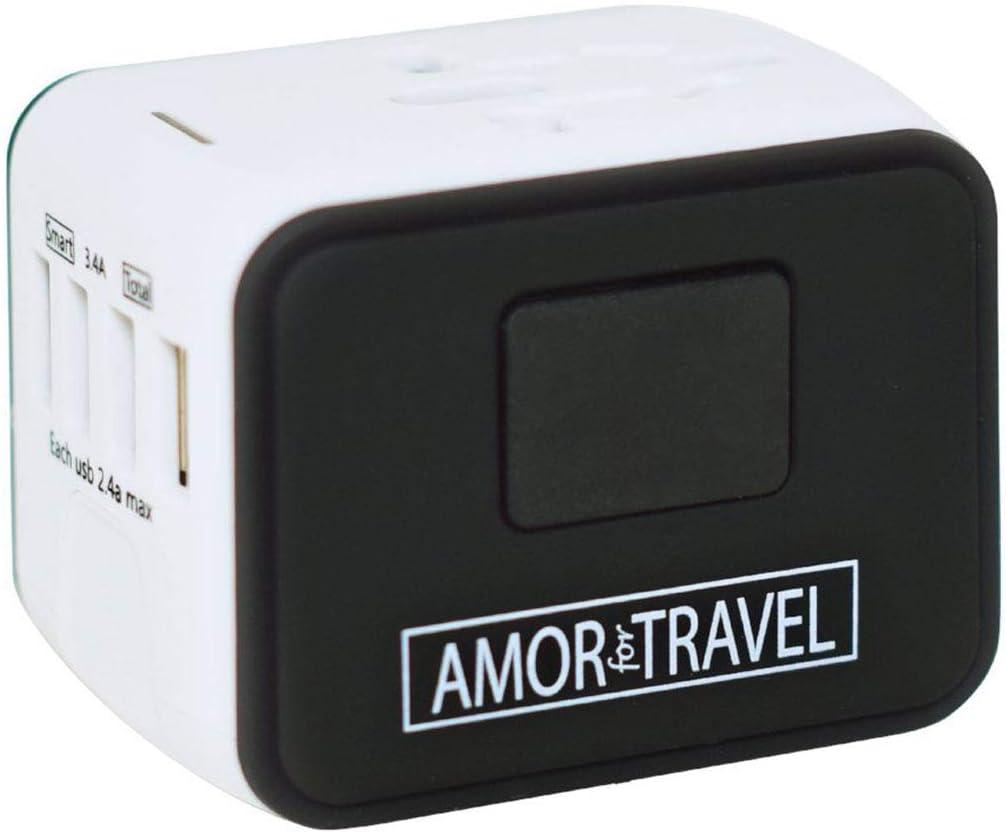Amor For Travel Industro Travel Adapter, White,Black
