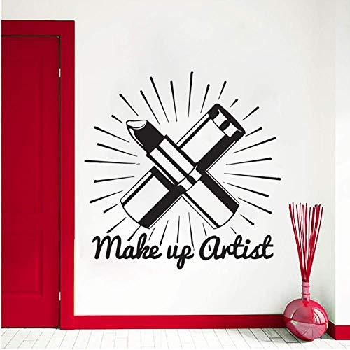 Autocollant Mural Salon De Beauté Cosmétiques Mur Rouge À Lèvres Maquillage Mur Art Mural Salon De Beauté Décoration 42x42 Cm