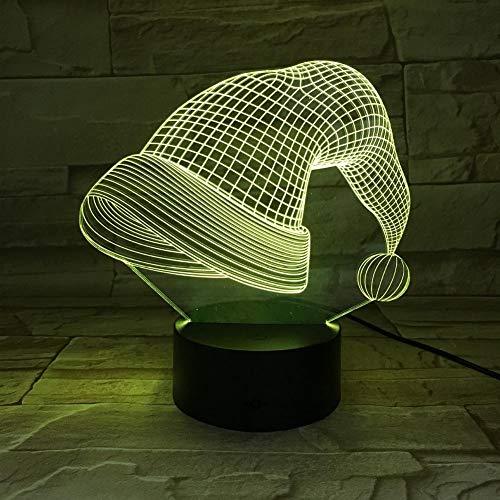 Yujzpl 3D-illusielamp Led-nachtlampje, USB-aangedreven 7 kleuren Knipperende aanraakschakelaar Slaapkamer Decoratie Verlichting voor kinderen Kerstcadeau-Kerstmuts eenvoudig