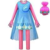 Maogou Trolls Cosplay Disfraz de Halloween Poppy Barb Tiny Diamond Cosplay Vestido con máscara de Peluca para niños niñas
