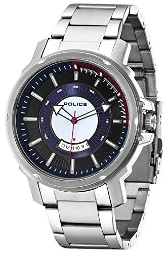 Police para Hombre-Reloj analógico de Cuarzo de Acero Inoxidable Soldado P14382JS-02M