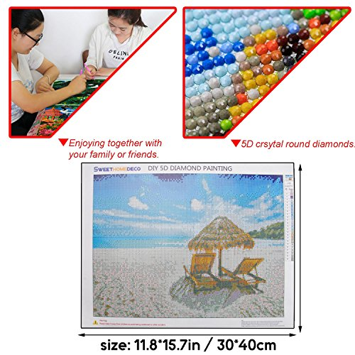 "SWEETHOMEDECO Diamond Painting, Diamond Painting Full Dril, Diamond Painting Kits for Adults, Beach 12""15.7"" 24 Kinds of Color Round Drills"