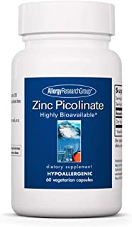 Allergy Research Group - Zinc Picolinate 25 mg - Immune, Mood, Bone Support - 60 Vegetarian Capsules