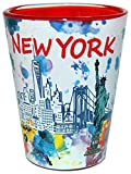 New York Skyline Shot Glass featuring Statue of Liberty | Colorful Shot Glass | Perfect Souvenir Gift Collection for Men & Women who love New York
