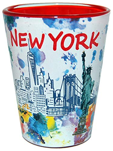 New York Skyline Shot Glass featuring Statue of Liberty Colorful Shot Glass Perfect Souvenir for Men & Women love New York