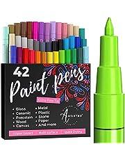 ARTISTRO Verf Pennen voor Rock Painting, Steen, Kiezels, Keramisch, Glas, Hout. Acryl Verf Markers Extra Fijne Tip 0.7mm (40 Kleuren + Extra Zwart & Wit).