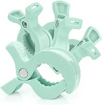 RUBY - 4 Pinzas carrito bebe, clips para asientos de coche o mantas, ganchos para cochecito LAT clips para muselina y juguetes, (Turquesa Pastel, 4 Pcs)