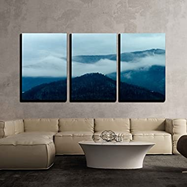 wall26 3 Piece Canvas Wall Art - Winter Mountain Landscape Abstract - Modern Home Decor Stretched and Framed Ready to Hang - 24 x36 x3 Panels