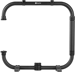 FeiyuTech AK Series Dual Handle Grip Set Rounded Ring Arm Camera Cage with 1/4 & 3/8 Inch Screw Hole Hot Shoe Mount Carbon Fiber for FeiyuTech AK Series AK2000 AK4000 Stabilizer Gimbal