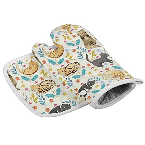 Sprutea My Cats Heat Resistant Insulated Oven Mitts potholders Kitchen Oven Gloves for Baking BBQ Grilling {Customized,Personalized}