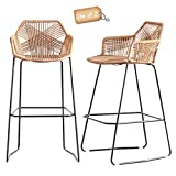 Set of 2 Nordic Bar Stools Simple Style Backrest Coffee Restaurant High Stools Iron Rattan Wicker