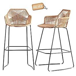 Ensemble de 2 tabourets de Bar Nordiques Style Simple Restaurant Café Dossier Tabourets Hauts Chaise à Dossier Haut en…