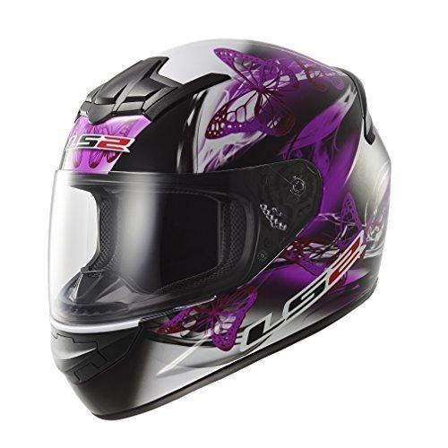 LS2 - mod. FF351 FF352 - Casco integrale per moto, da donna, motivo: disegno ondulato, di colore rosa e viola Nero  X-Sm