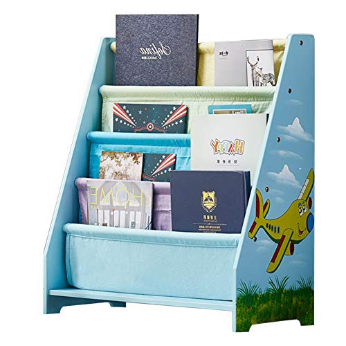 WODENY Childrens Bookcase Sling | Childs Book Shelves | Kids Wooden Bookshelf with Pocket Storage Book Rack - Canvas (Blue)