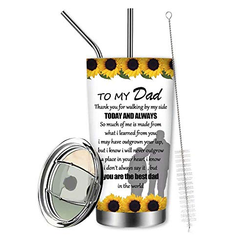 You are My Sunshine Tumbler Cups with Lids and Straws,to My Best Dad Tumbler,Sunflower Skull Water Glasses,Papa Coffee Mug,Grandpa Jug,Skull Dad Thermos,Father Bottle
