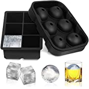 FSDUALWIN Ice Cube Trays 2 Pack, Sphere Round Ice Ball Maker & Large Square Ice Cube Mold for Chilling Bourbon Whiskey, Cocktail, Beverages and More (Black)(Please Choose FSDUALWIN -CA Cart)