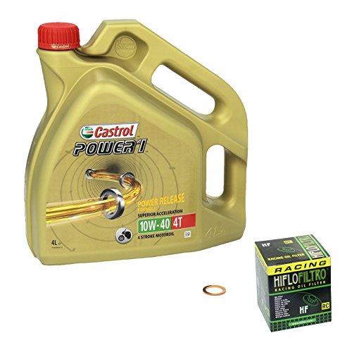 Castrol Power1 (10W-40) Ölwechsel-Set  Bandit S 1200 ABS (GSF 1200 S), Bj. 97-00 - Motoröl, HiFlo Racing Ölfilter und Dichtring