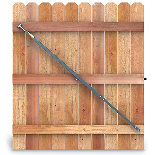 True Latch 8' Telescopic Gate Brace - Hammered Grey color - Wood Privacy Fence Anti Sag Gate Kit - Extends from 52