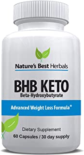 Advanced BHB KETOGENIC Diet Supplement (BETA HYDROXYBUTYRATE) | Weight Loss Capsules use Fat for Energy | Increase Metabolism | Keto Fat Burning Diet Pills | 800 mg, 60 Capsules, 30 Day Supply