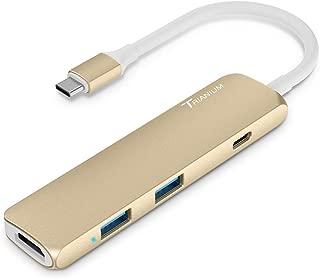 USB C Hub Adapter, Trianium Aluminum Multi Port Charger Dock USB Type C to HDMI/USB C / 2 USB-A 3.0 Port [Pass-Through Charging] for MacBook Pro,Chromebook, Phone,Hard Flash Drive,Other USB C Laptop