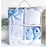 Set de primera puesta bebé 4 piezas - 0 a 6 meses (Azul) - Regalo recién nacido - Fabricado en España 100% algodón