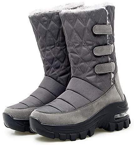 Mujeres De Invierno Botas De Nieve De Invierno Ladies Resbalones Resistentes Al Agua Piel Al Aire Libre Forrada De Tobillos Zapatos Zapatos De Tobillo Alineados De Pieles, Gris, US9.5 UK7.5EU42 26cm
