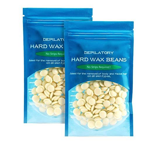 RUIVE Hard Wax Beans Hair Removal Kit 50/100/150g No Strip Depilatory Hot Pellet Waxing Hair Removal (2 Bag 50g Depilatory Wax, G)