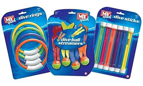 Moaeuro 3x m.y Underwater Fun Pool Diving Dive Swim ponderata giocattoli sfere anelli e bastoncini