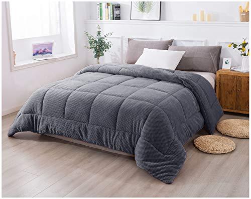 KASENTEX Luxury Plush Sherpa Comforter, Cozy Reversible - Goose Down Alternative Fill, Machine Washable Bedding, Excalibur Grey, Queen Size