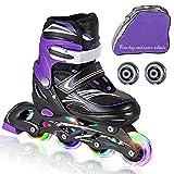 JIFAR Adjustable Inline Skates (Includs Free 2 Wheels & Bag) for Kids with Full Light Up Wheels,Children's Inline Skates for Indoor & Outdoor Skating for Boys,Girls, Beginners,Purple & Medium(2-5 US)