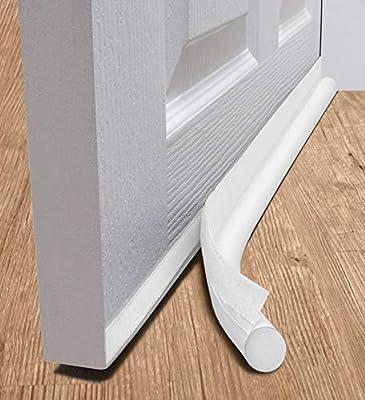 """deeTOOL MAN Door Draft Stopper 36"""" : One Sided Door Insulator with Hook and Loop Self Adhesive Tape Seal Fits to Bottom of Door/Under Door Draft Stopper (White)"""