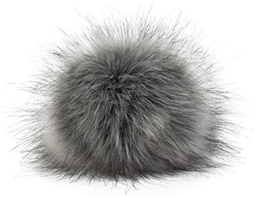 styleBREAKER Kunstfell Bommel für Mützen und Beanies, Fake Fur, Winter Fellbommel 04024161, Farbe:Hellgrau-Schwarz