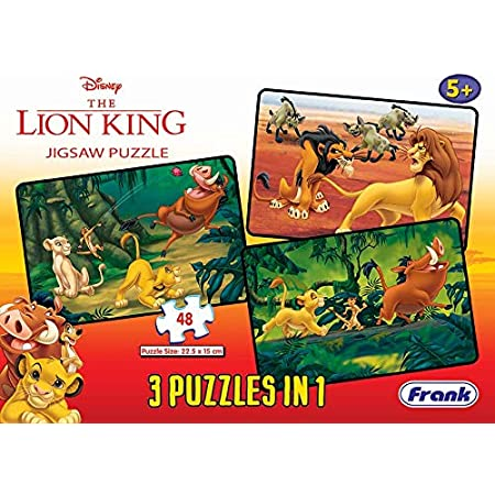 Frank Disney The Lion King 3 Puzzles in 1 - A Set of 3 48 Pc Jigsaw Puzzles for 5 Year Old Kids and Above