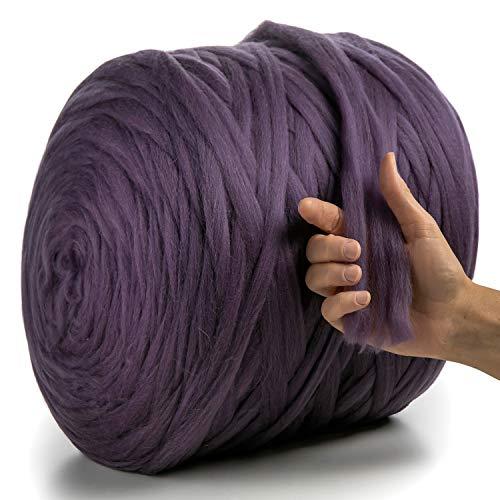MeriWoolArt 100% Merinowolle zum Stricken & Häkeln mit 2 cm dickem Garn | Dicke Merino Wolle für XXL Schal, Decke & Kissen (Violett, 100g)