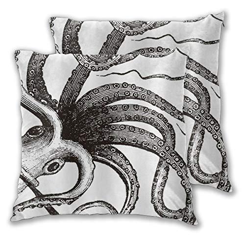 DECISAIYA Fundas de Cojines,Octopus Sea Monster Tentacles Ocean Theme Marine Mythical Lámina artística,Poliéste Funda de Almohada Cuadrado para Sofá Cama Decoración para Hogar,Set de 2,60x60cm