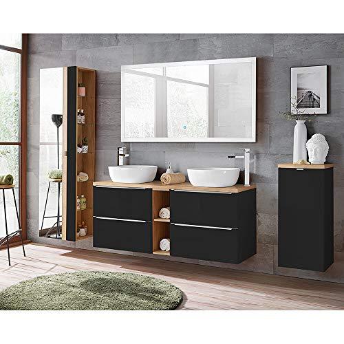 Lomadox Komplett Badmöbel Set 140 cm Doppel-Waschtisch, seidenmatt anthrazit mit Wotaneiche, Hochschrank mit Spiegel, Unterschrank mit Wäschekorb, Touch LED-Spiegel