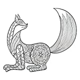 Tattoo Design Six-Pack Temporary Tattoo for Adults Woman Zentangle Artistic Fox for Adult Antistress Coloring Six Sheets Temporary Tattoos Men Women Chest Neck Arm 3.7 x 3.7 Inch