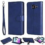 Ooboom 2in1 Funda para Samsung Galaxy J7 Prime, Magnético Desmontable Flip Folio Libro Wallet Case Cover Carcasa Piel PU Ranuras para Tarjetas de Crédito Correa para la Muñeca - Azul