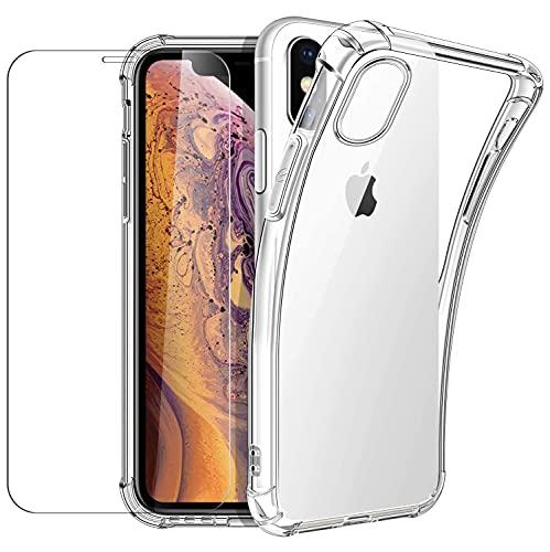 New&Teck Coque Compactible avec iPhone X/XS + [Verre Trempé Protection écran], Housse Etui en Transparent Silicone TPU Souple [Bumper avec Coins Renforcés], Protection Claire.