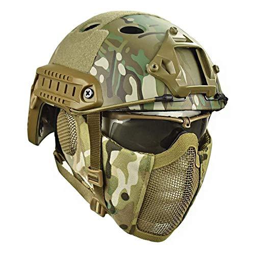 Pj Tactical Quick Casco Y ProteccióN Auditiva Plegable Doble CinturóN Media Cara MáScara De Malla Y Gafas Para Pistola De Aire Paintball