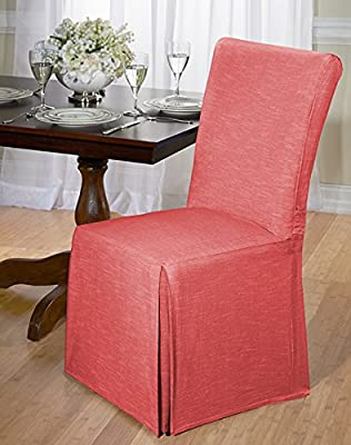 Luxurious Dining Chair Slipcover, Chambray, Basket Weave, Beige, Blue, and Red