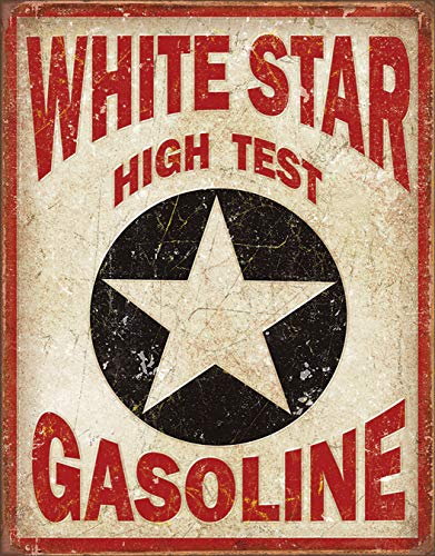 Desperate Enterprises White Star Gasoline Tin Sign, 12.5