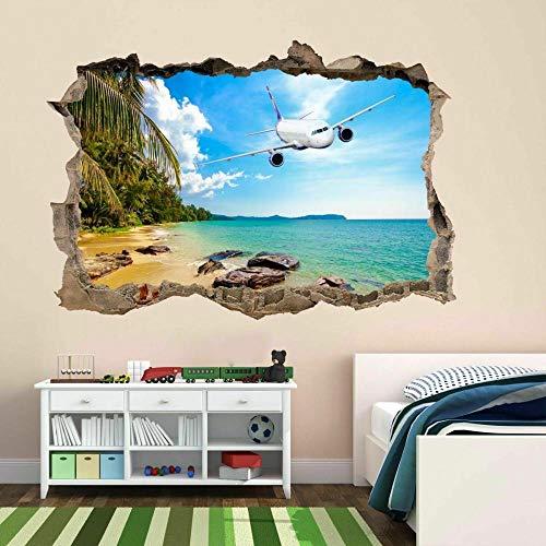 3D Wall Tattoo Wall Sticker Breakthrough Airplane Tropical Island Beach Wall Decor Boys and Girls Bedroom Sticker Wallpaper Decals 12x20inch(30x50cm)