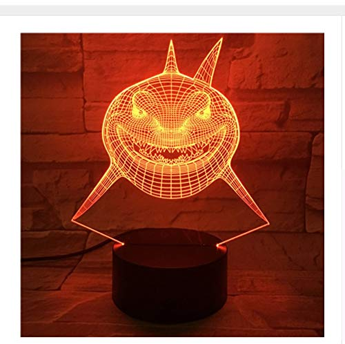 Requin Cartoon Halloween Cadeau 3D Led Night Light Mode 7 Couleurs Changement Led Led Table De Bureau Lampe Panneau Acrylique Stéréo Illusion Lava Lampe Light Box