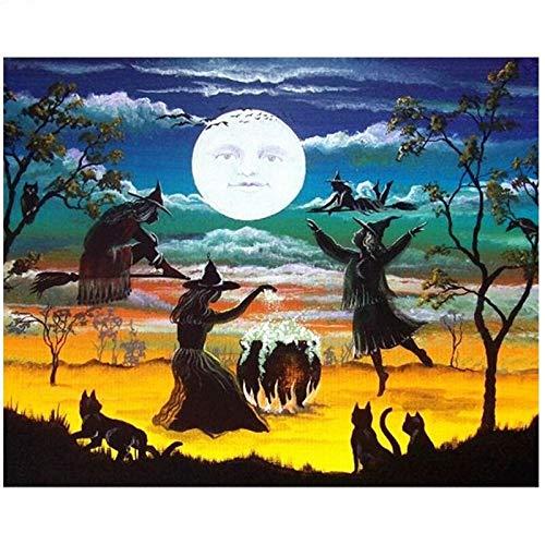 Puzzle 1000 Piezas Arte Tres Brujas Pintura Cuadro Luna Pintura Puzzle 1000 Piezas paisajes Rompecabezas de Juguete de descompresión Intelectual Rompecabezas de Juguete de de50x75cm(20x30inch)