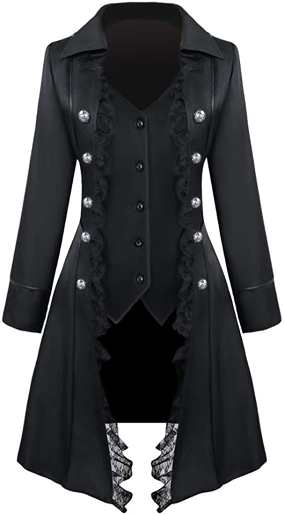 Forthery Women lace Steampunk Jacket Retro Victorian Punk Women Medieval Jacket Coat