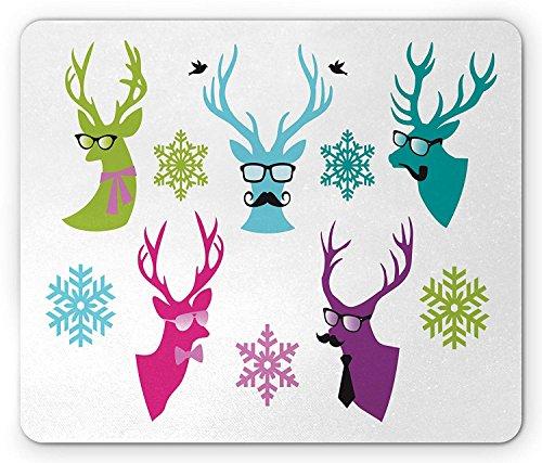 Snor Muis Pad, Kerst herten dragen Boog Tie Brillen Roken Pijp en Sneeuwvlokken, Standaard Grootte Rechthoek Antislip Rubber Mousepad, Multi kleuren