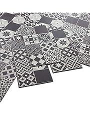 ARTENS - PVC vloerbedekking - Click vinyl vloer - cementtegels patroon - zwart / wit - 1,49 m²/8 tegels