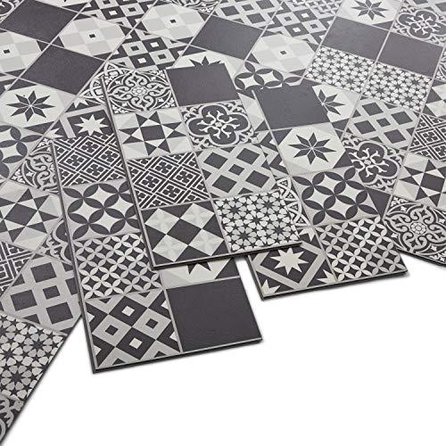 ARTENS - PVC Bodenbelag - Click Vinylboden- Zementfliesen Muster - Schwarz/Weiß - 1,49m²/8 Fliesen